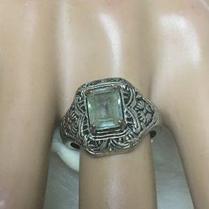 Vintage LIND Blue ToPaz Victorian Filigree Ring-7